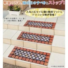 石タイル調の階段マット(テラコッタ)