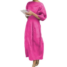 maweisong 女性のコットンリネンソリッドハーフスリーブドレスミディドレス Rose Red L