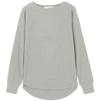 【7%OFF】 神戸レタス ワッフルボートネックゆるTシャツ [C4019] レディース グレー ワンサイズ(M) 【KOBE LETTUCE】 【タイムセール開催中】