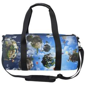 ボストンバッグ スポーツバッグ ジムバッグ レディース メンズ 2way ジム通い バッグ トラベルバッグ 2泊 旅行 シュールなパターン シューズ収納 防水 軽量