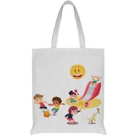 子供を見て太陽の父 女性のトートバッグコットンA4互換大容量シングルバックパックハンドバッグ通勤学校 両面印刷