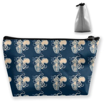 Makeup Bag - Cosmetic Lipstick Cute Pouch Toiletry Travel Bag and Brush Organizer Purse Handbag for Women - Octopus Art