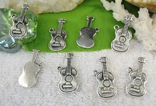 40pcs Tibetan silver guitar charms FC10581