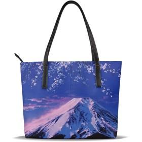 夕紅富士山と宵桜 トートバッグ 大容量 持ち手 軽量 カジュアル 縦型 旅行 丈夫 防水 シンプル 肩掛け バッグ ショルダーバッグ