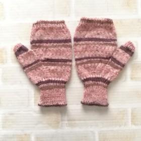 お手入れ簡単な毛糸の指なしハンドウォーマー☆ミトン☆洗濯機で洗えます