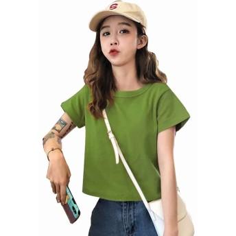 PONU レディース 半袖 Tシャツ カットソー 無地 トップスショート丈(グリンー)M