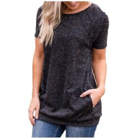 Candiyer 女性ポケットコレクションミリタリーカジュアルサマーTシャツトップ Black L