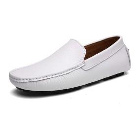 [実りの秋] ドライビングシューズ メンズ 24.0-28.5CM ローファー モカシン 紳士靴 軽量 通気性 スリッポン 男性靴 カジュアル おしゃれ 歩きやすい 衝撃吸収 大きいサイズ 通勤 春秋 白 28.0CM