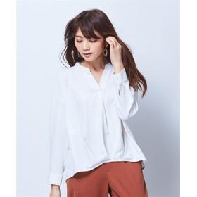 【パチパチしにくい】裏微起毛スタンドカラースキッパーブラウス (ブラウス)Blouses, Shirts, 衫, 襯衫
