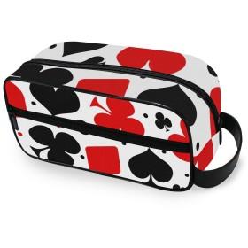 USAKI 化粧ポーチ 小物入れ 機能的 トランプ柄 トラベルポーチ 大容量 おしゃれ コスメポーチ 化粧バッグ 化粧品収納 出張 旅行