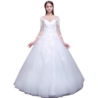 花嫁 レディース 舞踏会 ピアノ発表会 演奏会 上品 ブライズメイド 二次会 パーティー 結婚式 フォーマル 成人式 締上げタイプ 披露宴 お呼ばれドレス イドウェディングドレス (XL, ホワイト)