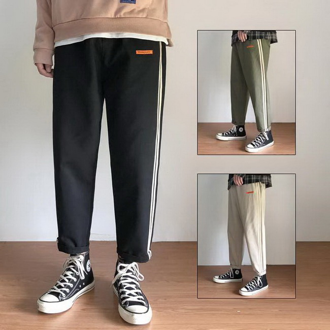 FOFU-休閒長褲韓版時尚潮流條紋休閒長褲【08B-G0766】