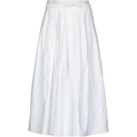 《期間限定セール開催中!》FABIANA FILIPPI レディース 7分丈スカート ホワイト 44 コットン 58% / 麻 42% / ポリエステル