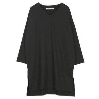 コウベレタス KOBE LETTUCE VネックスリットドルマンロングTシャツ [C4012] (ブラック)