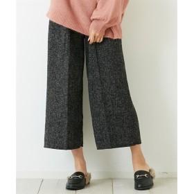 ミックス調ガウチョパンツ(リボンベルト付) (レディースパンツ),pants