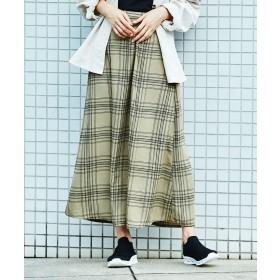 ジーラ GeeRA 【WEB限定】ソフトマーメイドプリントスカート (ベージュ系)