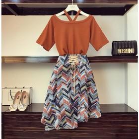 [55555SHOP]大きいサイズ/ワンピース/韓国ファッション、超低価パルス販売/ドレス&パーティードレス//2点セット