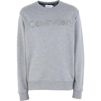 《セール開催中》CALVIN KLEIN メンズ スウェットシャツ グレー S コットン 100% ATHLEISURE LOGO SWEAT