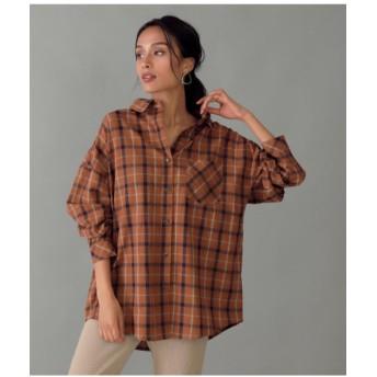 【50%OFF】 アナップ チェックビッグシャツ レディース ブラウン F 【ANAP】 【セール開催中】