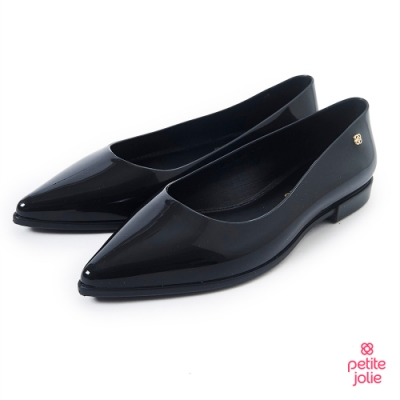 Petite Jolie--經典尖頭果凍娃娃鞋-亮黑色