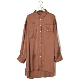 【20%OFF】 ダブルクローゼット サテンウエスタンBIGシャツ レディース ブラウン FREE 【w closet】 【セール開催中】