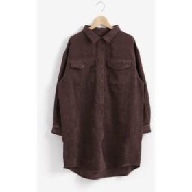 (MAJESTIC LEGON/マジェスティックレゴン)細コールBIGシャツ/レディース ブラウン