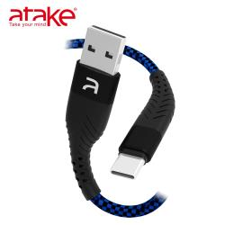 【ATake】- USB to Type-C 雙面盲插充電傳輸線 藍 B4A-1BT-0001