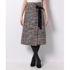 (MISS J/ミス ジェイ)スパンコールツィード スカート/レディース ブラック