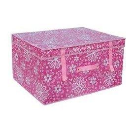 衣物收納箱複膜 有蓋盒儲物箱整理箱儲存箱(大號50*40*30cm)-7201008
