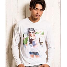 シルバーバレット CavariA転写エンボスガールズフォトプリントクルーネック長袖Tシャツ メンズ ホワイト系1 46(L) 【SILVER BULLET】