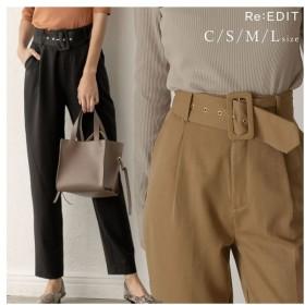 Re: EDIT お仕事の日もお休みも、綺麗め気分ならこのパンツ バックルベルト付テーパードパンツ パンツ/パンツ グレー M レディース 5,000円(税抜)以上購入で送料無料 テーパードパンツ 夏 レディースファッション アパレル 通販 大きいサイズ コーデ 安い おしゃれ お洒落 20代 30代 40代 50代 女性 パンツ ズボン