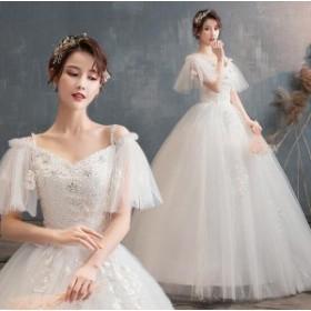 送料無料!プリンセス ウエディングドレス 二次会 花嫁ドレス 結婚式 aライン 豪華 森ガール風 スパンコール ゴージャス ロング 姫 ウェ