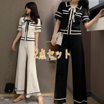 [55555SHOP] 2019夏の新作 高品質セット ニットシャツ+ ハイウエスト ワイドパンツスカートスリム 上品&気質 2点セット