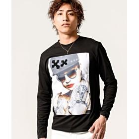 シルバーバレット CavariA転写エンボスガールズフォトプリントクルーネック長袖Tシャツ メンズ ブラック系3 44(M) 【SILVER BULLET】