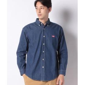 エドウィン EDWIN ロゴ ボタンダウンシャツ 長袖 メンズ 中色USED S 【EDWIN】