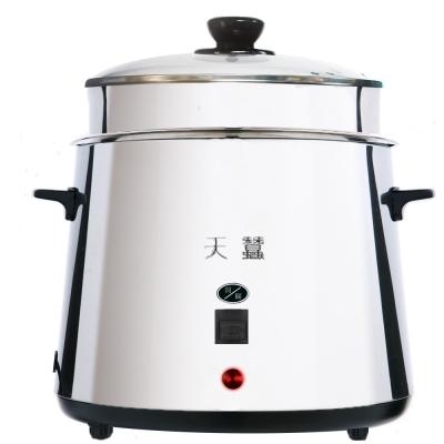 天蠶全不鏽鋼10人份電鍋(加高玻璃鍋蓋+上置蒸盤+1小蒸盤)(YL-10AS2A)