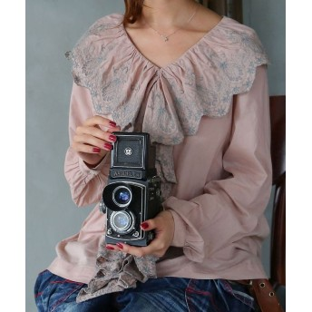 オシャレウォーカー 『somari贅沢刺繍フリルデザインブラウス』 レディース グレー 1(S~M) 【osharewalker】