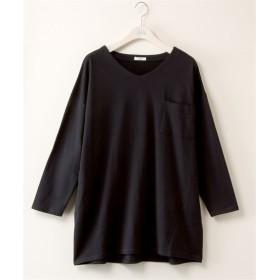 綿100% ミニ裏毛ゆるシルエットプルオーバー (大きいサイズレディース)T-shirts, T恤, plus size