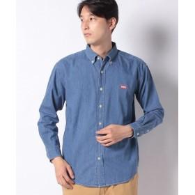 【30%OFF】 エドウィン EDWIN ロゴ ボタンダウンシャツ 長袖 メンズ フェードブルー XL 【EDWIN】 【セール開催中】