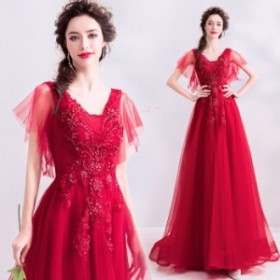 【ANGEL】肌透けチュールレースビーズ半袖付き背中編上げトレーンAラインロングドレス【送料無料】高品質 レッド 赤 ロングドレス パ