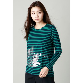 EVEX by KRIZIA 【ウォッシャブル】アニマルフェアT(フェネック) Tシャツ・カットソー,ライトグリーン