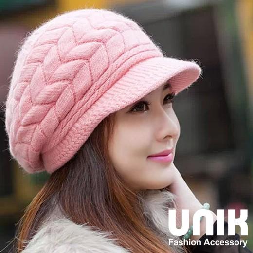 【現貨】UNIK 柔美佳人編織毛線貝雷帽(甜美粉)