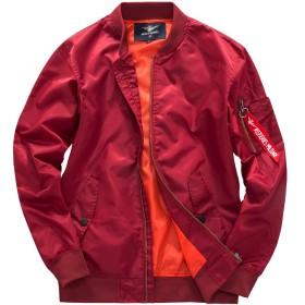 (フォセース)Fosys フライトジャケット MA-1 ミリタリー ジャケット メンズ ブルゾン カジュアル 薄手or厚手 ファッション 春 秋 冬 (2XL, レッド)