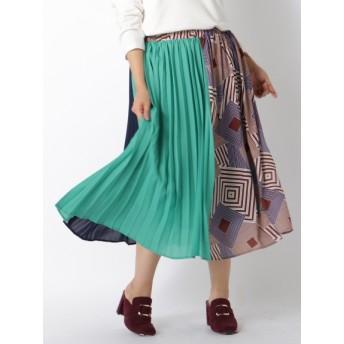 【大きいサイズレディース】【LL-5L展開】ブロッキングプリーツスカート スカート ロングスカート
