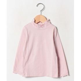 (SUCRE/シュクル)天竺衿ハイネックフリル長袖Tシャツ(90-130cm)/レディース ピンク