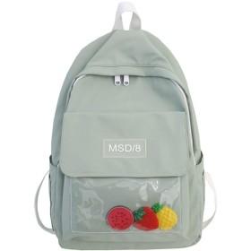 ファッション防水バックパック透明なかわいい女性のスクールバッグ10代の少女ナイロンかわいいリュックプラスチックレディース学生バッグ書籍、グリーン、L28Cmw12Cmh39Cm