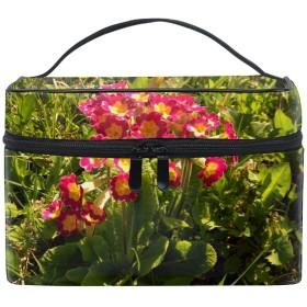 化粧ポーチ メイク収納 中身が見やすいサクラソウカラフルな葉の日当たりの良い 持ち運び用 小物入れ