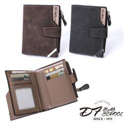 DF BAGSCHOOL - 男士休閒復古風仿舊摺式皮夾零錢包-共3色