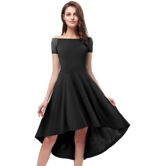 YoYaker 結婚式 ドレス レディース ワンピース パーティードレス お呼ばれ フィッシュテール フォーマルワンピース 披露宴 ドレス 二次会 ブラック2XLサイズ