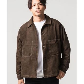 シルバーバレット CavariAステッチ入りポリスウェード長袖シャツジャケット メンズ ブラウン 46(L) 【SILVER BULLET】